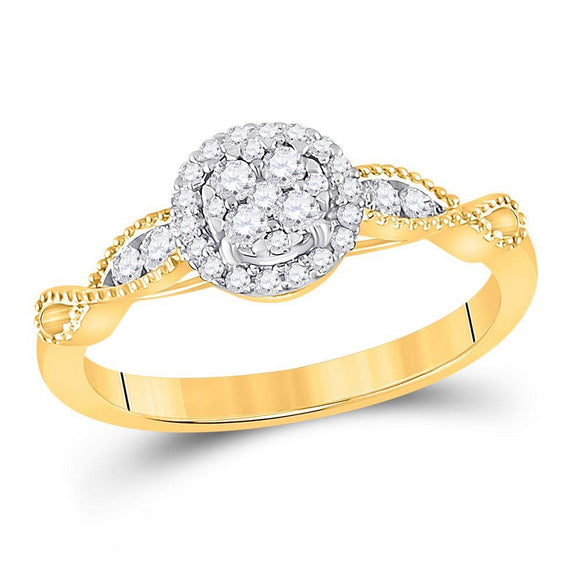 14kt Yellow Gold Womens Round Diamond Halo Circle Cluster Ring 1/3 Cttw