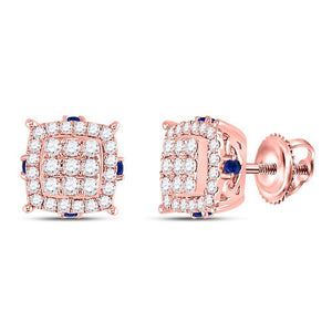 14kt Rose Gold Womens Round Diamond Blue Sapphire Square Earrings 5/8 Cttw