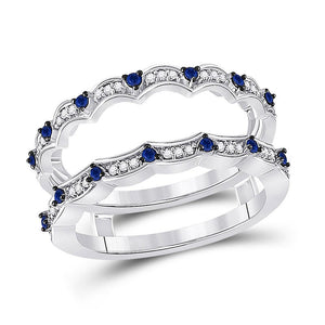 14kt White Gold Womens Round Diamond Blue Sapphire Negative Space Band Ring 1/3 Cttw