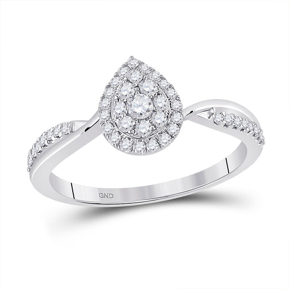 14kt White Gold Womens Round Diamond Teardrop Cluster Ring 1/3 Cttw