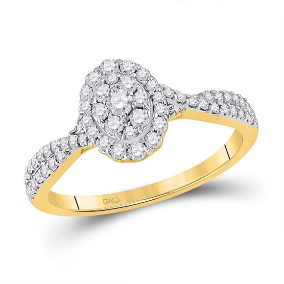 10kt Yellow Gold Womens Round Diamond Oval Cluster Ring 1/2 Cttw