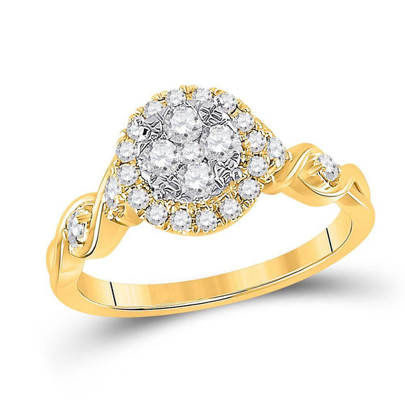 10kt Yellow Gold Womens Round Diamond Cluster Halo Ring 1/2 Cttw
