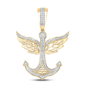 10kt Yellow Gold Mens Round Diamond Anchor Wings Charm Pendant 1/3 Cttw