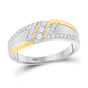 10kt Two-tone Gold Mens Round Diamond 3-stone Wedding Ring 1/2 Cttw