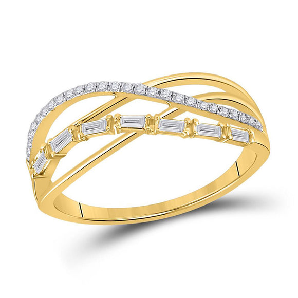 14kt Yellow Gold Womens Baguette Round Diamond Crossover Band Ring 1/4 Cttw
