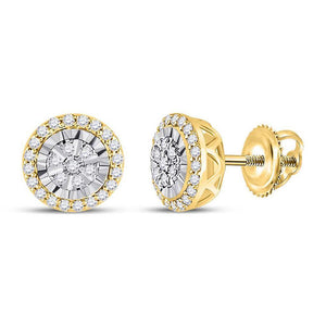 QueensDiamond 14kt Yellow Gold Womens Round Diamond Cluster Earrings 1/4 Cttw - Queens Diamond & Jewelry