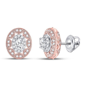 QueensDiamond 14kt Two-tone Gold Womens Oval Diamond Halo Earrings 1/2 Cttw - Queens Diamond & Jewelry