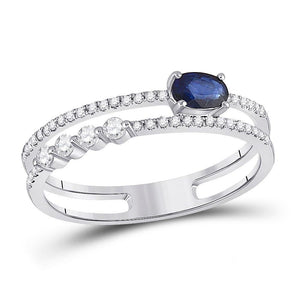14kt White Gold Womens Oval Blue Sapphire Modern Fashion Ring 5/8 Cttw
