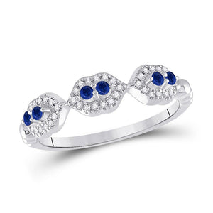 14kt White Gold Womens Round Blue Sapphire Diamond Band Ring 1/4 Cttw