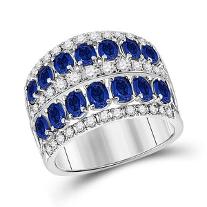 14kt White Gold Womens Oval Blue Sapphire Diamond Cocktail Band Ring 3 Cttw