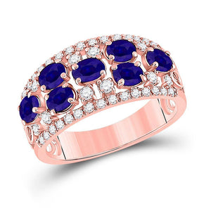 14kt Rose Gold Womens Oval Blue Sapphire Diamond Band Ring 1-7/8 Cttw