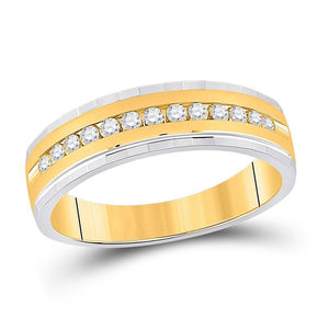 10kt Two-tone Gold Mens Round Diamond Wedding Single Row Band Ring 1/3 Cttw