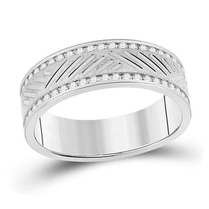 10kt White Gold Mens Round Diamond Wedding Machine Set Band Ring 1/2 Cttw