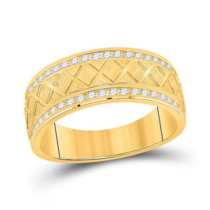 10kt Yellow Gold Mens Round Diamond Wedding Machine Set Band Ring 1/2 Cttw