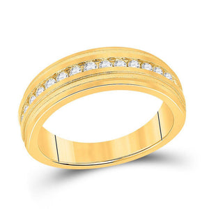 10kt Yellow Gold Mens Round Diamond Wedding Single Row Band Ring 1/2 Cttw