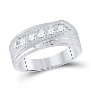 14kt White Gold Mens Round Diamond 5-stone Wedding Ring 5/8 Cttw