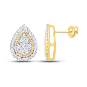 QueensDiamond 10kt Yellow Gold Womens Round Diamond Teardrop Earrings 1/3 Cttw - Queens Diamond & Jewelry