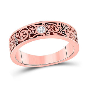 14kt Rose Gold Mens Round Diamond Wedding Floral Band Ring 1/12 Cttw