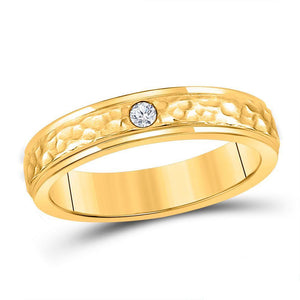 14kt Yellow Gold Mens Round Diamond Hammered Solitaire Wedding Ring 1/12 Cttw