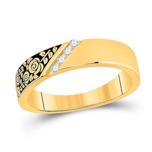 14kt Yellow Gold Mens Round Diamond Wedding Rose Flower Band Ring 1/20 Cttw