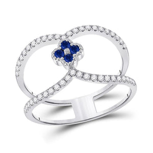 14kt White Gold Womens Round Blue Sapphire Clover Fashion Ring 3/8 Cttw