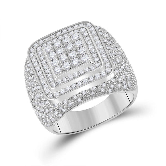14kt White Gold Mens Round Diamond Square Ring 1-7/8 Cttw