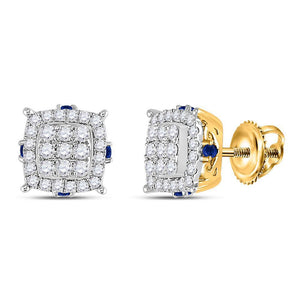 14kt Yellow Gold Womens Round Diamond Blue Sapphire Square Earrings 5/8 Cttw