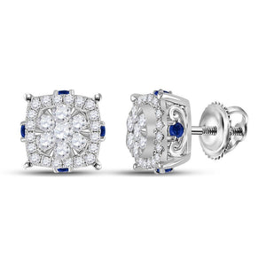 14kt White Gold Womens Round Diamond Blue Sapphire Cluster Earrings 5/8 Cttw