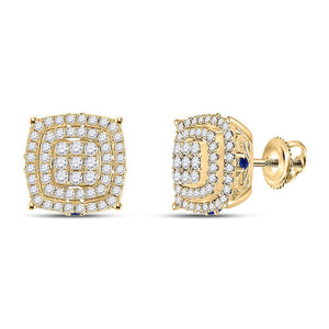 14kt Yellow Gold Womens Round Diamond Blue Sapphire Square Earrings 7/8 Cttw