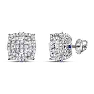 14kt White Gold Womens Round Diamond Blue Sapphire Square Earrings 7/8 Cttw