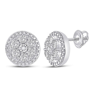 10kt White Gold Womens Round Diamond Miracle Circle Cluster Earrings 1/5 Cttw