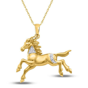 10kt Yellow Gold Womens Round Diamond Horse Pony Animal Pendant 1/20 Cttw