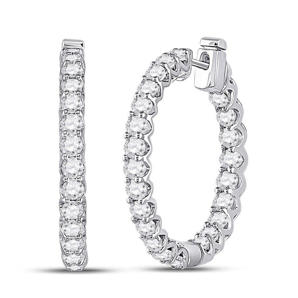 14kt White Gold Womens Round Diamond Hoop Earrings 3 Cttw