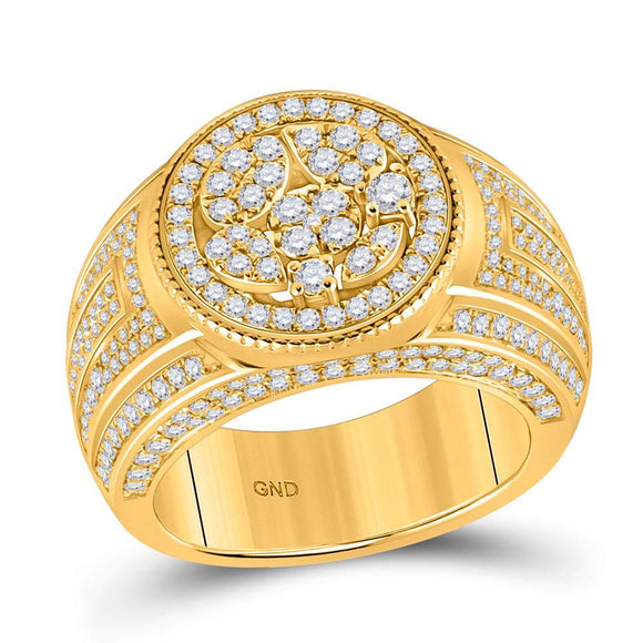 14kt Yellow Gold Mens Round Diamond Statement Circle Cluster Ring 2-1/5 Cttw