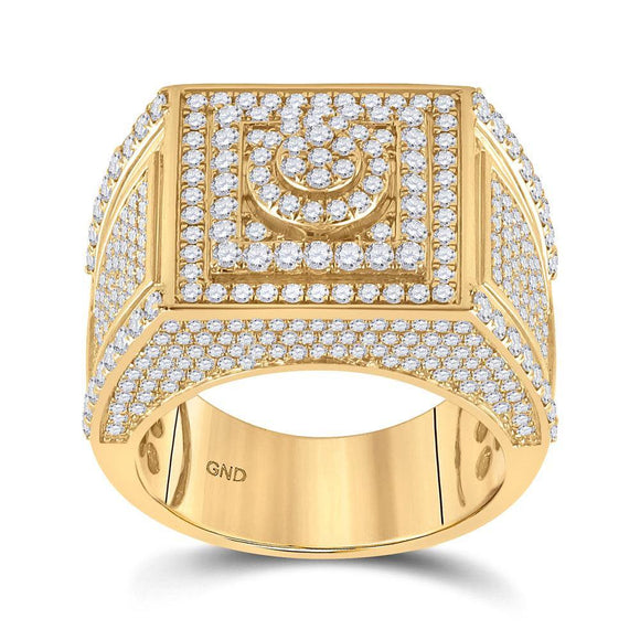 14kt Yellow Gold Mens Round Diamond Square Cluster Ring 3 Cttw