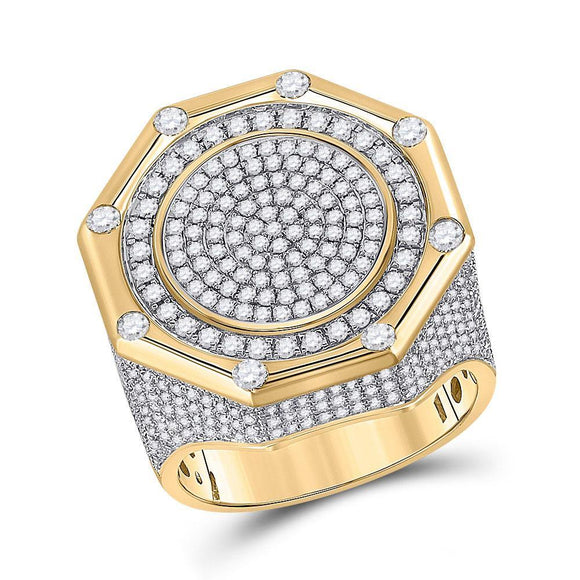14kt Yellow Gold Mens Round Diamond Octagon Cluster Ring 2-3/4 Cttw
