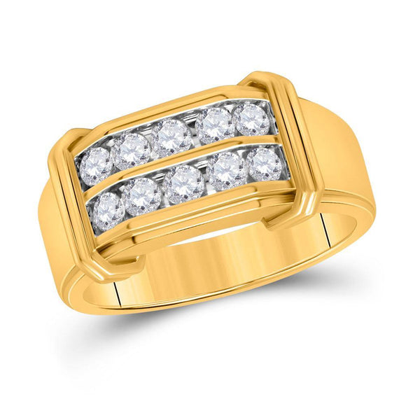 10kt Yellow Gold Mens Round Diamond Double Row Band Ring 3/8 Cttw