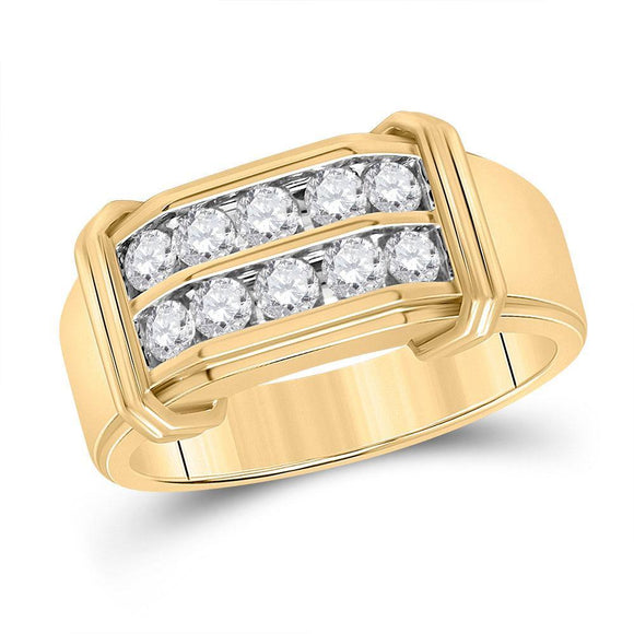 10kt Yellow Gold Mens Round Diamond Double Row Band Ring 7/8 Cttw