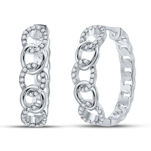 10kt White Gold Womens Round Diamond Cuban Curb Link Hoop Earrings 1/5 Cttw