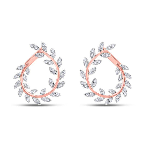14kt Rose Gold Womens Round Diamond Twist Vine Hoop Earrings 1 Cttw