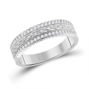 14kt White Gold Mens Round Diamond Wedding Brick Inlay Band Ring 1/3 Cttw