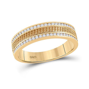 14kt Yellow Gold Mens Round Diamond Wedding Textured Band Ring 1/3 Cttw