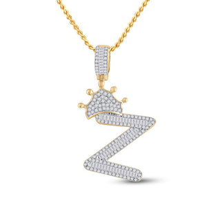 10kt Yellow Gold Mens Baguette Diamond Crown Z Letter Charm Pendant 3/4 Cttw