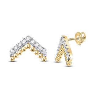 QueensDiamond 14kt Yellow Gold Womens Round Diamond Fashion Earrings 1/5 Cttw - Queens Diamond & Jewelry