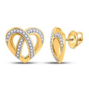 QueensDiamond 10kt Yellow Gold Womens Round Diamond Heart Earrings 1/5 Cttw - Queens Diamond & Jewelry