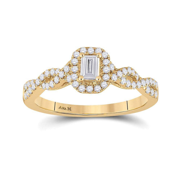14kt Yellow Gold Emerald Diamond Halo Bridal Wedding Engagement Ring 5/8 Cttw