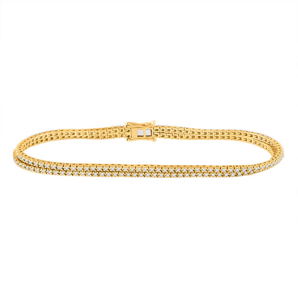 14kt Yellow Gold Womens Round Diamond 2-Row Tennis Bracelet 1 Cttw