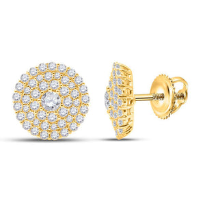 QueensDiamond 14kt Yellow Gold Womens Round Diamond Cluster Earrings 1 Cttw - Queens Diamond & Jewelry