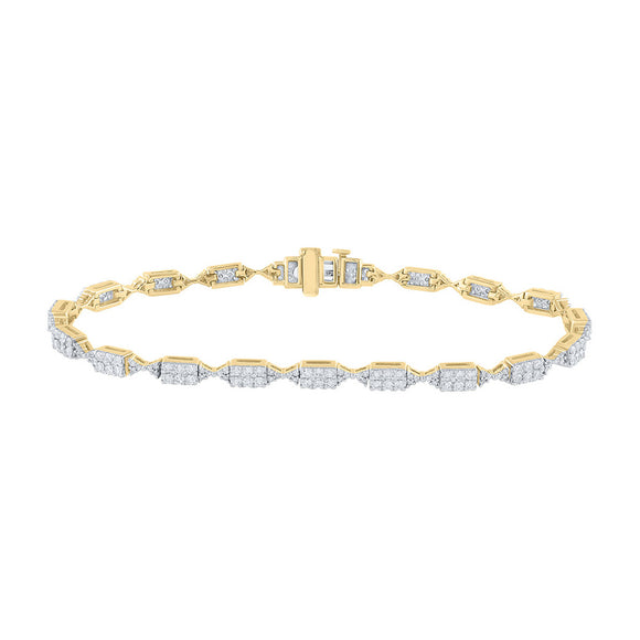 14kt Yellow Gold Womens Round Diamond Fashion Bracelet 2 Cttw