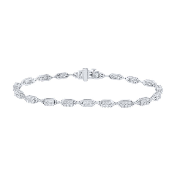 14kt White Gold Womens Round Diamond Fashion Bracelet 2 Cttw